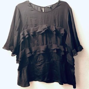 💋 Basic black blouse with flare Who What Wear XXL